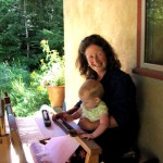 Janet Wallace teaching granddaughter to weave